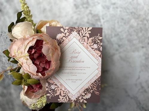 Blush wild flower wedding invitation