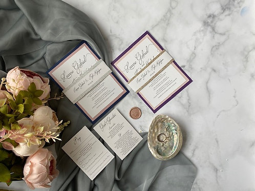 Navy and pink calligraphy wedding invite