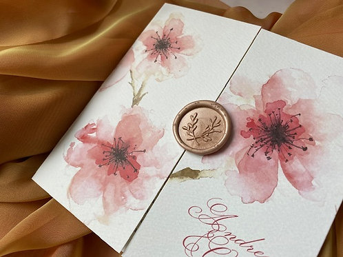 Gate folded floral fancy invitation