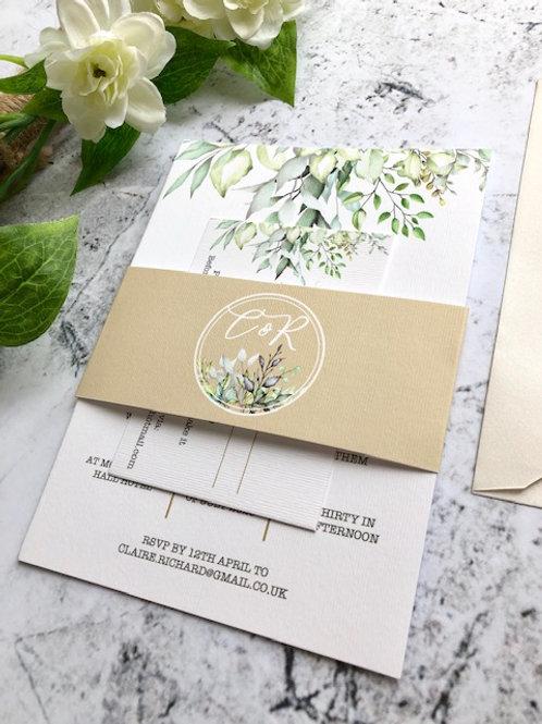 Woodland leaves invitation