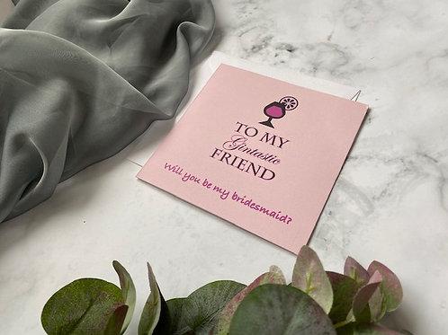 Gin themed bridesmaid card