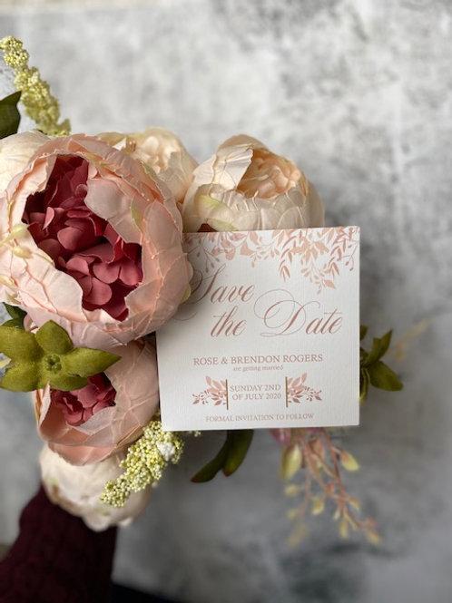 Blush wild flower save the date