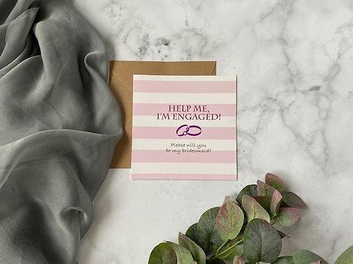 'Help me' - Bridesmaid proposal card