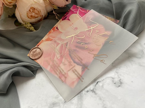 Pink floral and gold vellum wedding invite