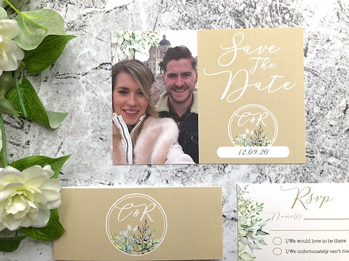 Woodland Leaves Botanical save the date