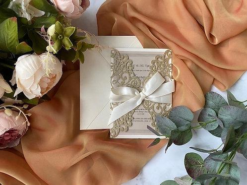 Roaring twenties golden swirl wedding invite