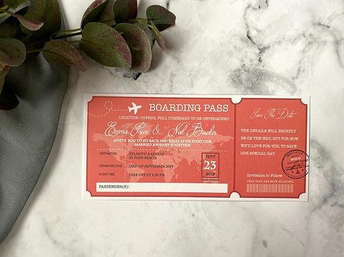 'Paradise Cove' destination wedding ticket invitation