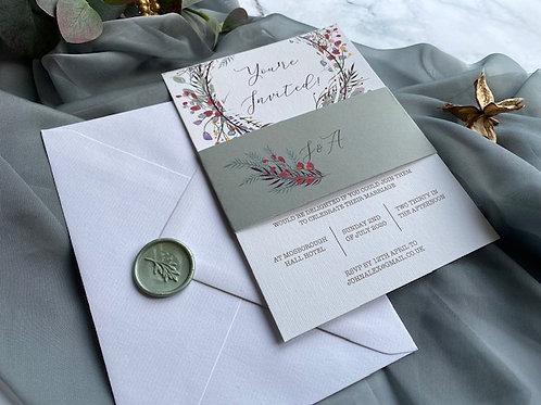 Winter floral wreath invitation