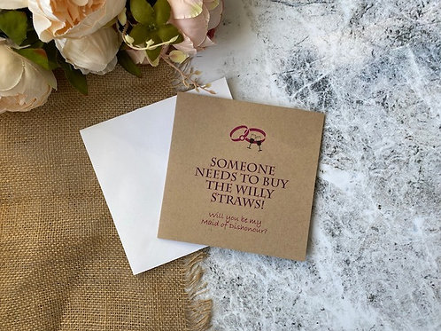 Maid of dishonour wedding proposal card