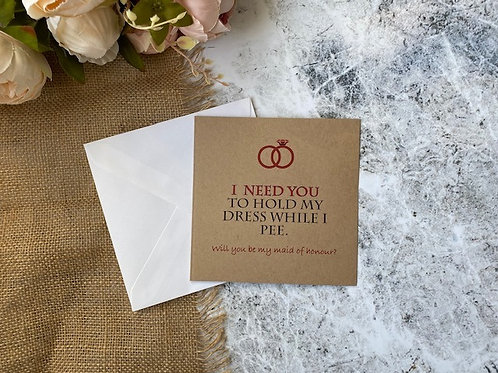 Funny maid of honour proposal card