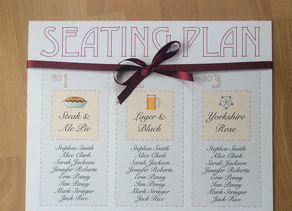 Yorkshire Themed Seating Plan