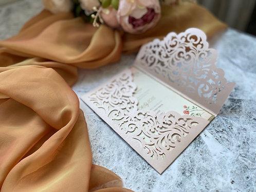 Blush love laser cut invitation