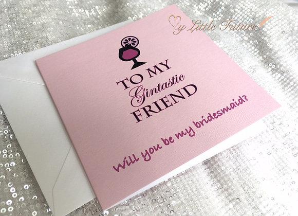 Gintastic Friend Bridesmaid Card