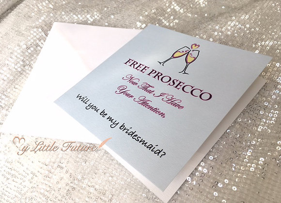 Free Prosecco Bridesmaid Card