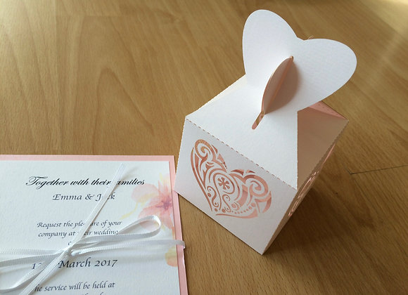 Love Heart Favour Box- Matching Pattern
