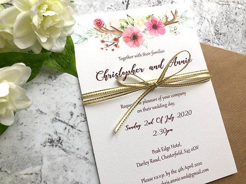 Wild Floral Antler Invitation Design