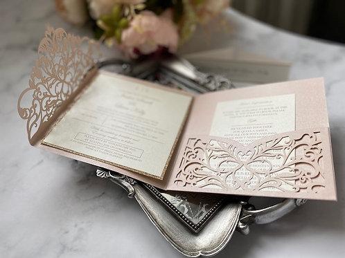 Blush vine laser cut wedding invitation