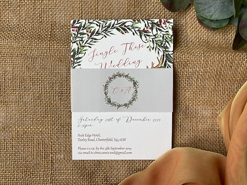 'Jingle those wedding bells' Christmas invitation