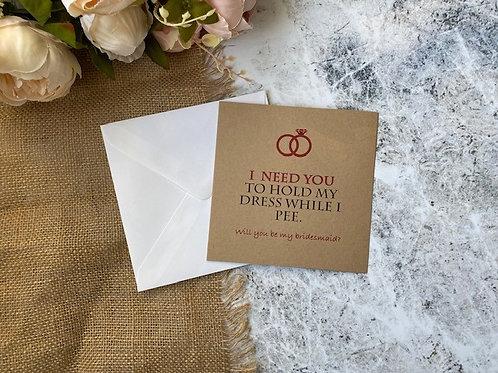 Funny bridesmaid proposal card