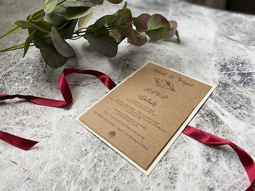 Rustic rouge beach shell invite