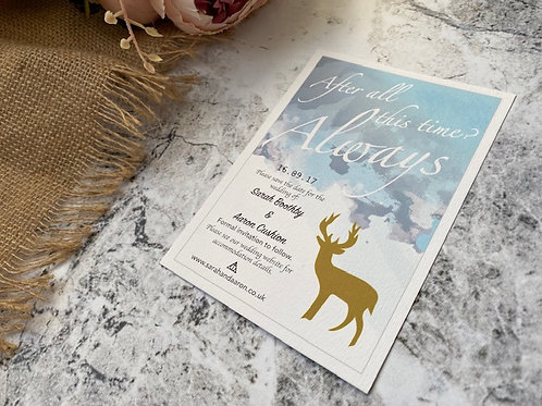 'Always' stag water colour wedding invitation