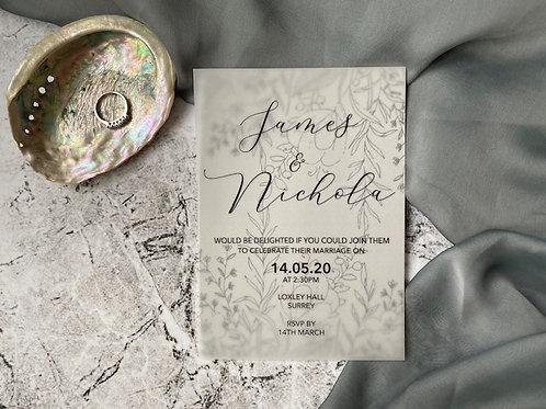 Grey and black flower vellum wedding invitation