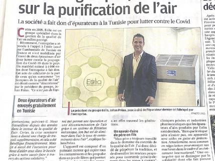 Johan PREAU, Président du groupe EOLIA interviewé par la Provence, ce mercredi 4 août