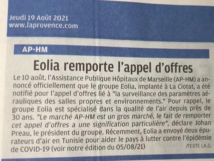 """""""Eolia remporte l'appel d'offres lancé par l'AP-HM, La provence"""""""