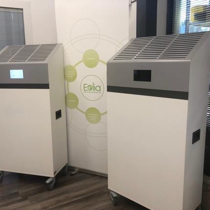 Le purificateur d'air intégré d'un capteur Co2-PM, un produit unique sur le marché lancé par Eolia