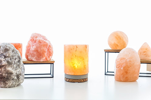 Cylindrical Himalayan Salt with Concrete Zebrawood Base