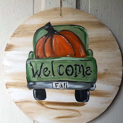 Welcome Truck Pumpkin Door Hanger September 15th 6pm
