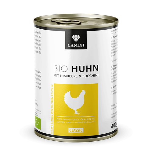CANINI Cibo umido Biologico Pollo, lamponi e zucchine