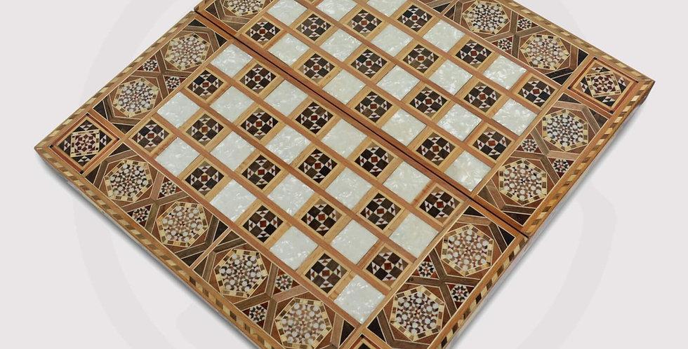 Wooden damascene backgammon board, chess
