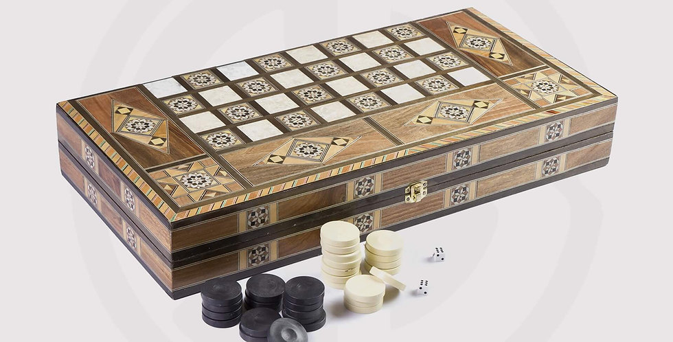 Wooden damascene backgammon board, chess pieces
