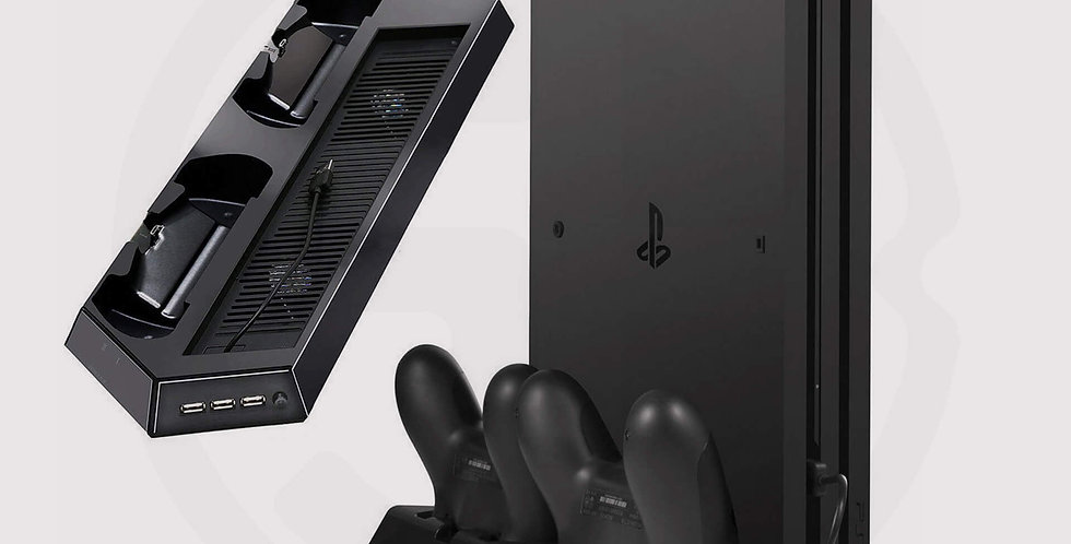 PS4 Pro vertical stand cooling fan with Dualshock controller charging station