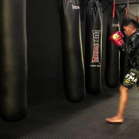 Training on the punching bag