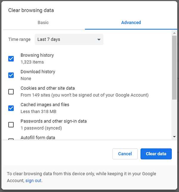 Delete Cookies from Chrome Browser