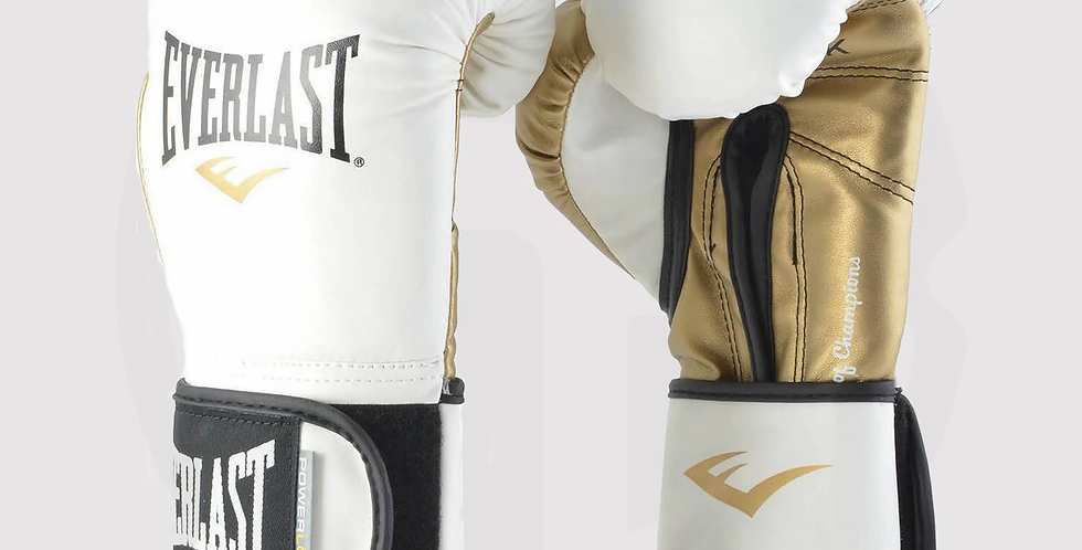 Everlast Powerlock Pro Hook and Loop Boxing Gloves,White/Gold