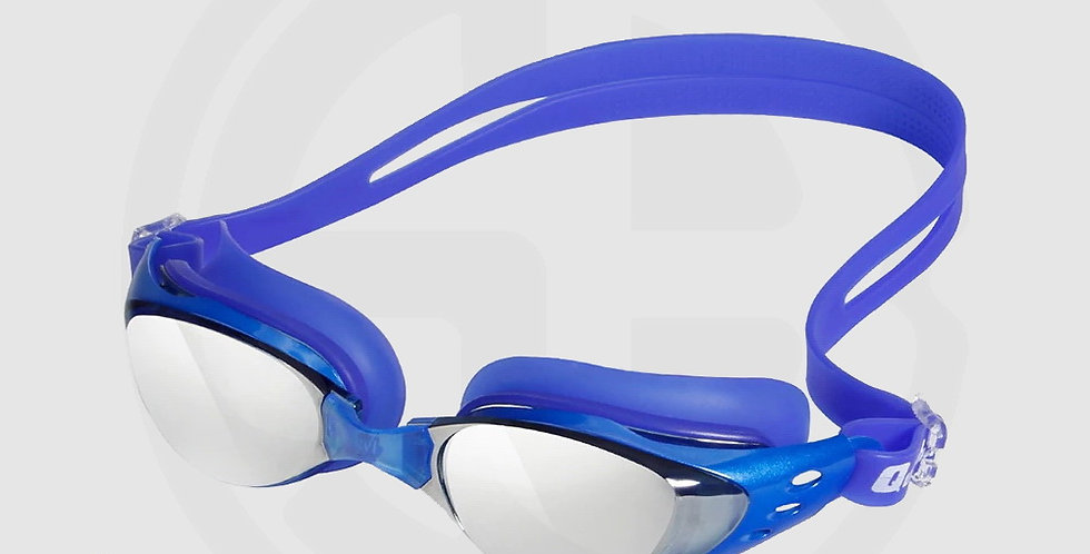 Queshark Swimming Goggles for Swimming, High Quality, Mirror Mist, Blue Frame