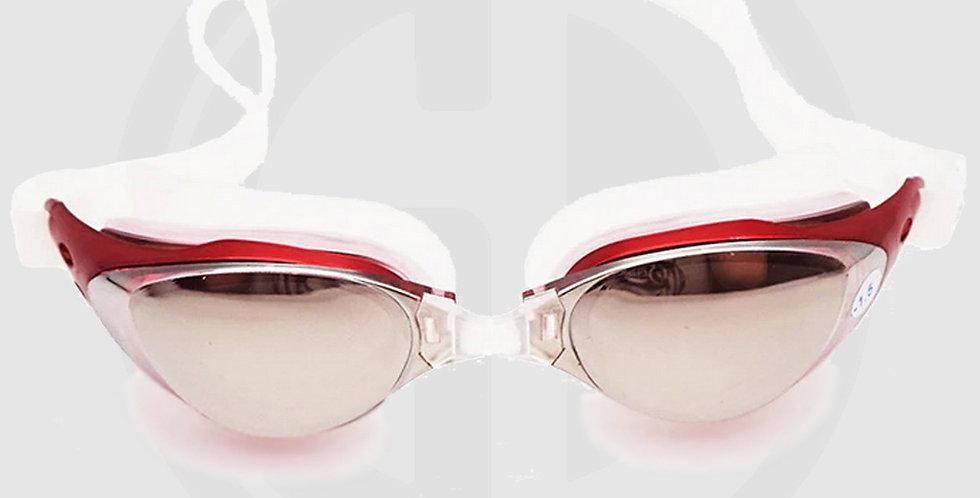 Queshark Swimming Glasses, Mirror Mist, Red Frame