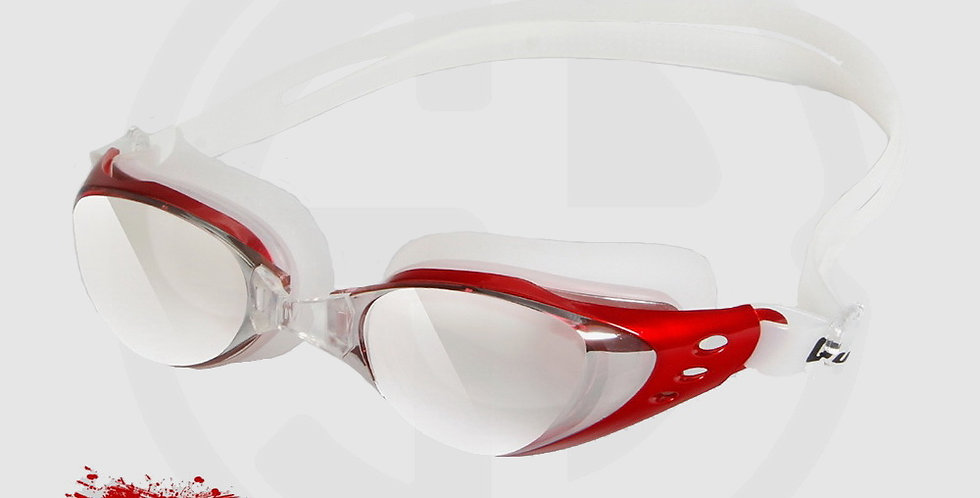 Queshark Swimming Glasses, High Quality, Mirror Mist, Red Frame