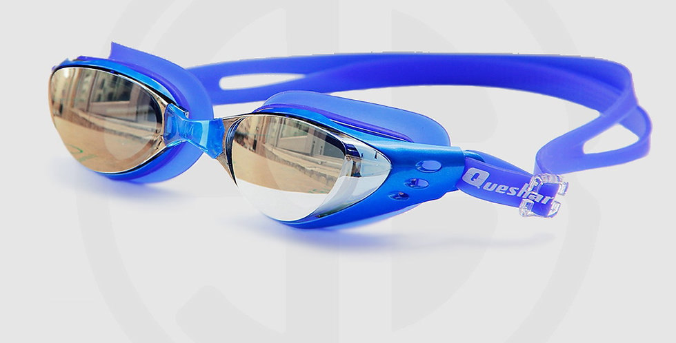 Queshark swimming goggles for swimming, Mirror mist, Blue frame