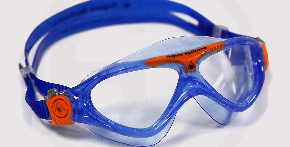 Aqua Sphere Vista JR Swimming Goggle, Clear Lens - Dark Blue/Orange