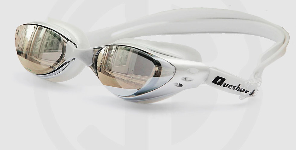 Queshark Swimming Goggles for Swimming, Mirror Mist, Silver Frame