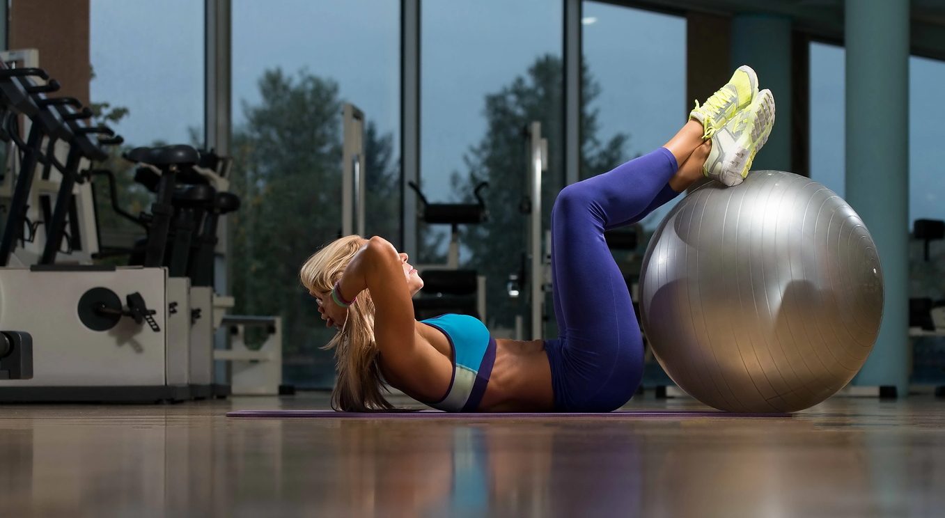 Machines, Woman Doing Abdominal At Gym