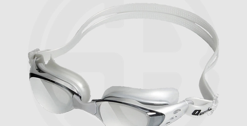 Queshark Swimming Goggles for Swimming, High Quality, Mirror Mist, Silver Frame