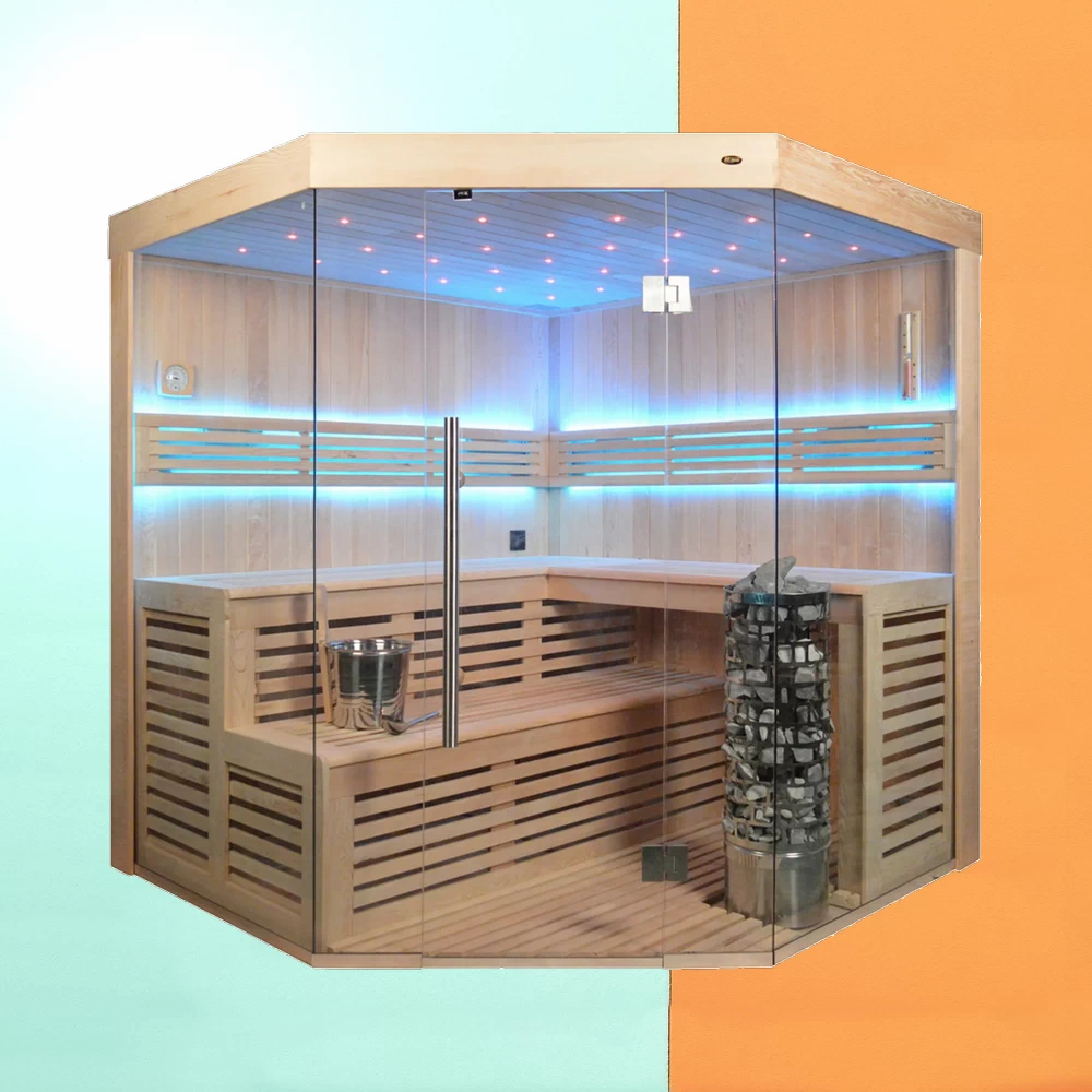 Sauna Cabin Solid Wood, Traditional Sauna, 200 x 200 cm, LED Light Starry Sky