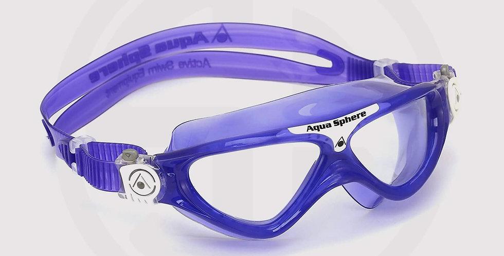 Aqua Sphere Vista JR Swimming Goggle, Clear Lens - Violet Purple/White