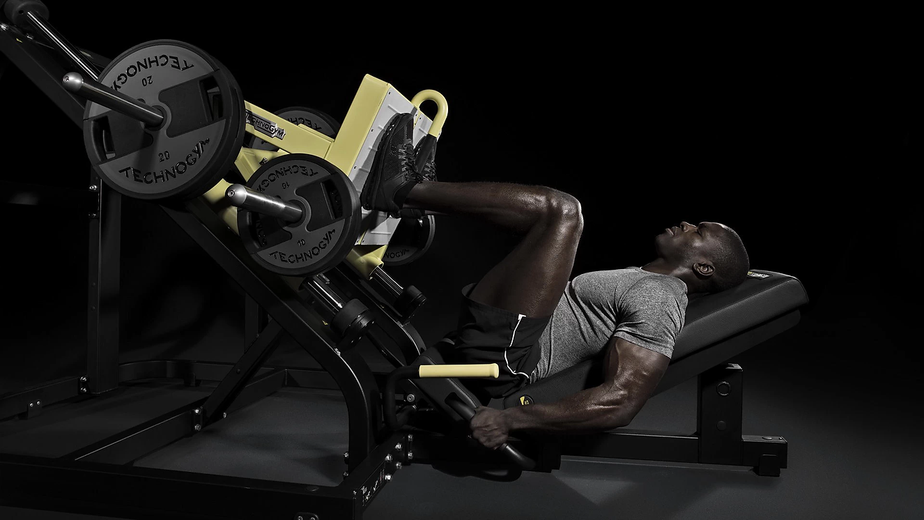 Lower Body Equipment, Leg Press Machine, Athletic Man