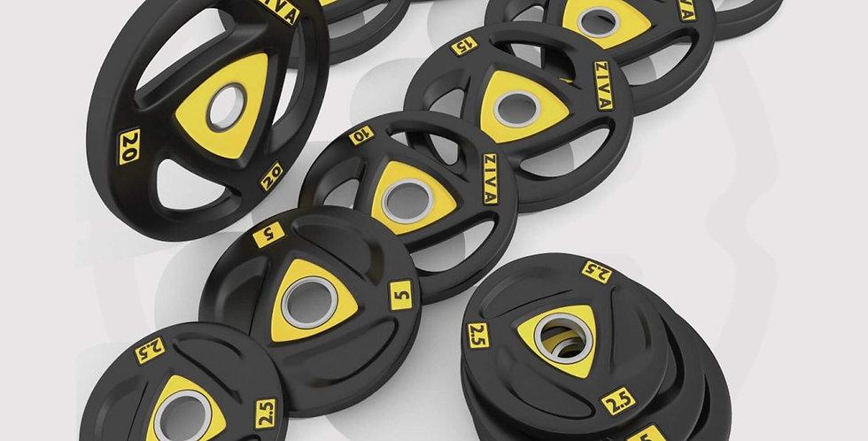 ZIVA ZVO Rubber Weight Discs with Three Grip Disc - 7 Pairs